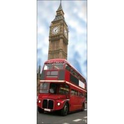 Affiche poster format porte trompe l'oeil Bus anglais
