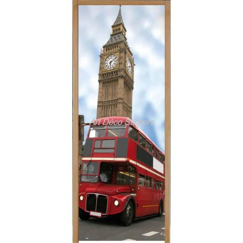 affiche poster format porte trompe l 39 oeil bus anglais art d co stickers. Black Bedroom Furniture Sets. Home Design Ideas