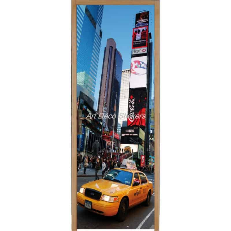 affiche poster pour porte trompe l 39 oeil new york taxi art d co stickers. Black Bedroom Furniture Sets. Home Design Ideas