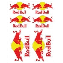 6 Stickers Autocollants Red Bull