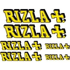 6 Stickers Autocollants Moto RIZLA