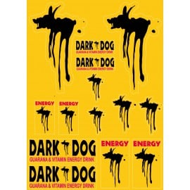 14 Stickers Autocollants Dark Dog