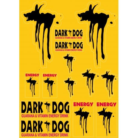 14 Stickers Autocollants Dark Dog