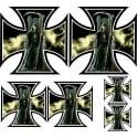 6 stickers autocollants Croix de Malte Le Faucheur