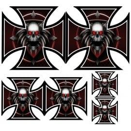 6 stickers autocollants Croix de Malte Skull