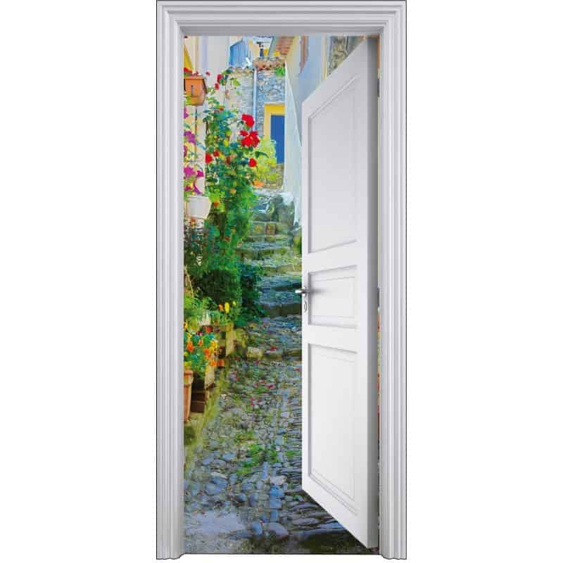 Stickers porte trompe l 39 oeil d co rue 90x200cm art d co for Stickers de porte ancienne