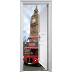 Sticker porte trompe l'oeil déco Bus Anglais 90x200cm
