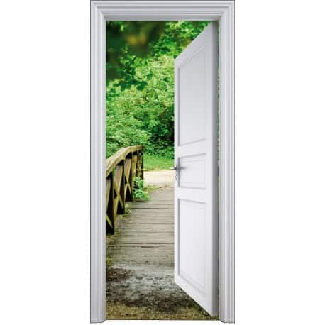 Sticker porte trompe l 39 oeil d co chemin 90x200cm art d co stickers - Trompe oeil pour porte ...