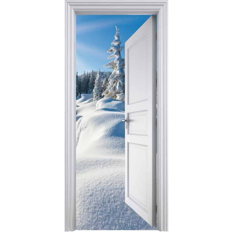 Sticker porte trompe l 39 oeil d co montagne 90x200cm art for Decoration porte interieure poster sticker
