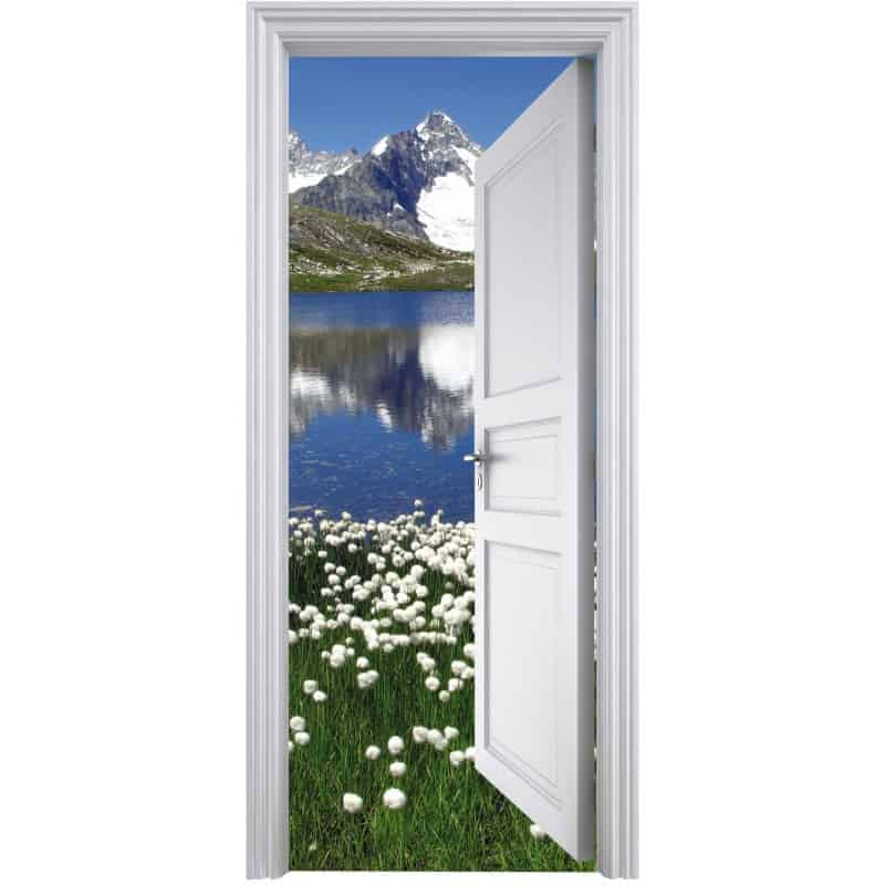 sticker porte trompe l 39 oeil d co montagne 90x200cm art. Black Bedroom Furniture Sets. Home Design Ideas
