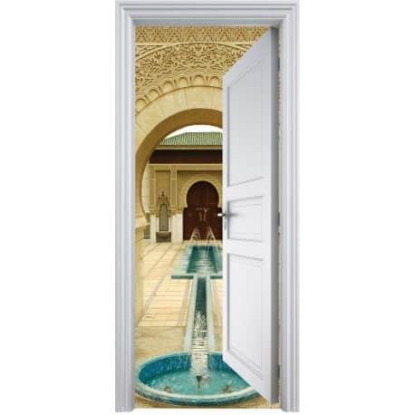 Sticker porte trompe l 39 oeil d co fontaine orientale 90x200cm art d co stickers for Sticker porte orientale