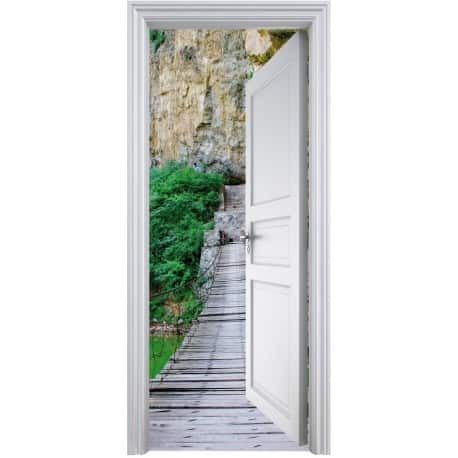 Sticker porte trompe l 39 oeil d co passerelle 90x200cm art for Sticker deco porte interieure