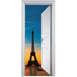 Sticker porte trompe l'oeil Tour Eiffel 90x200cm