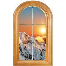 Sticker Fenêtre vouté trompe l'oeil déco Paysage montagne