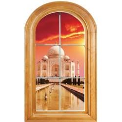 Sticker Fenêtre vouté trompe l'oeil déco Taj Mahal