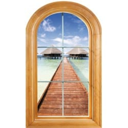 """Sticker Fenêtre vouté trompe l'oeil déco """"Les Maldives"""""""