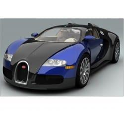 Sticker autocollant Voiture Bugatti Veyron Bleu Sport 132x82 cm