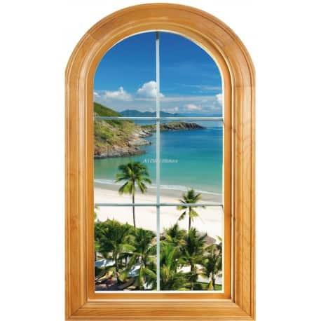 Sticker Fenêtre trompe l'oeil déco Belle vue mer plage