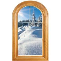Sticker Fenêtre trompe l'oeil déco Paysage neige