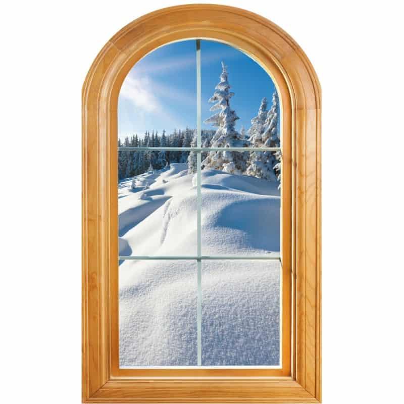 Préférence Sticker Fenêtre trompe l'oeil déco Paysage neige - Art Déco Stickers HB84