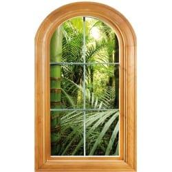 Sticker Fenêtre trompe l'oeil déco Forêt Bambous