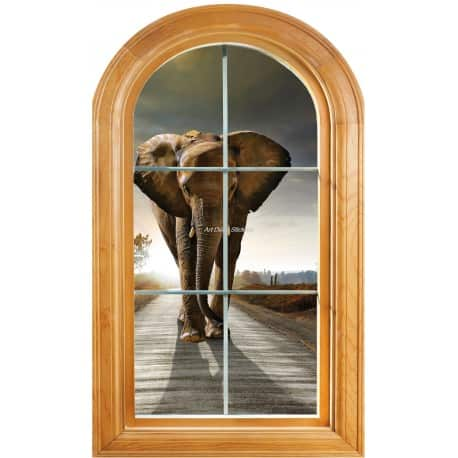 Sticker Fenêtre trompe l'oeil déco Eléphant