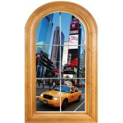 Sticker Fenêtre trompe l'oeil déco New York Taxi