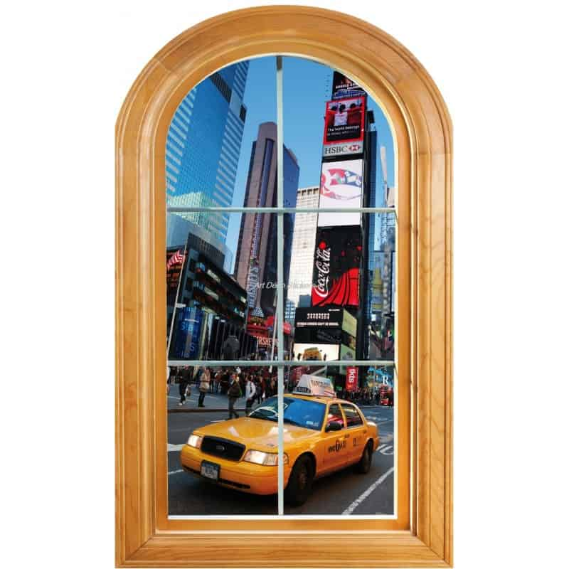 Sticker fen tre trompe l 39 oeil d co new york taxi art for Deco taxi new york