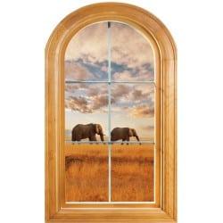 Sticker Fenêtre trompe l'oeil déco Eléphants