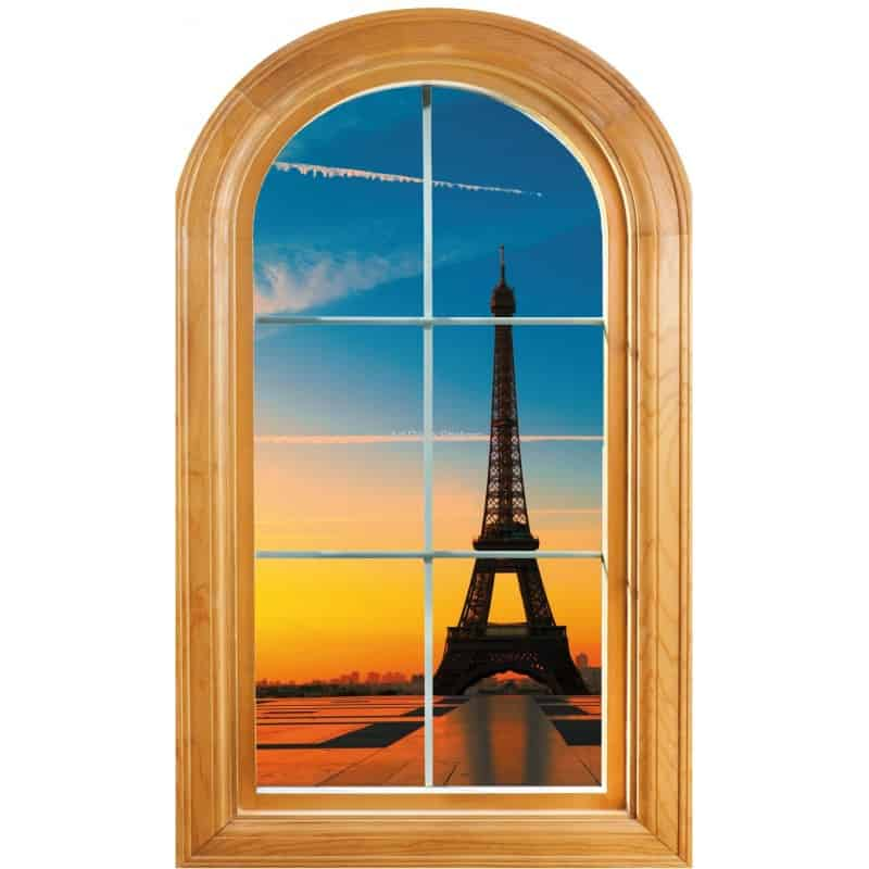 Sticker fen tre trompe l 39 oeil d co tour eiffel art d co for Trompe oeil fenetre