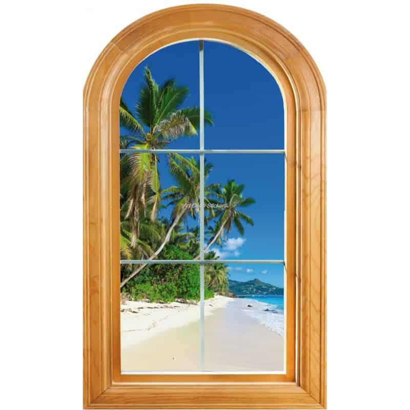 sticker fen tre trompe l 39 oeil d co palmiers art d co. Black Bedroom Furniture Sets. Home Design Ideas