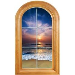Sticker Fenêtre trompe l'oeil déco Couché de soleil