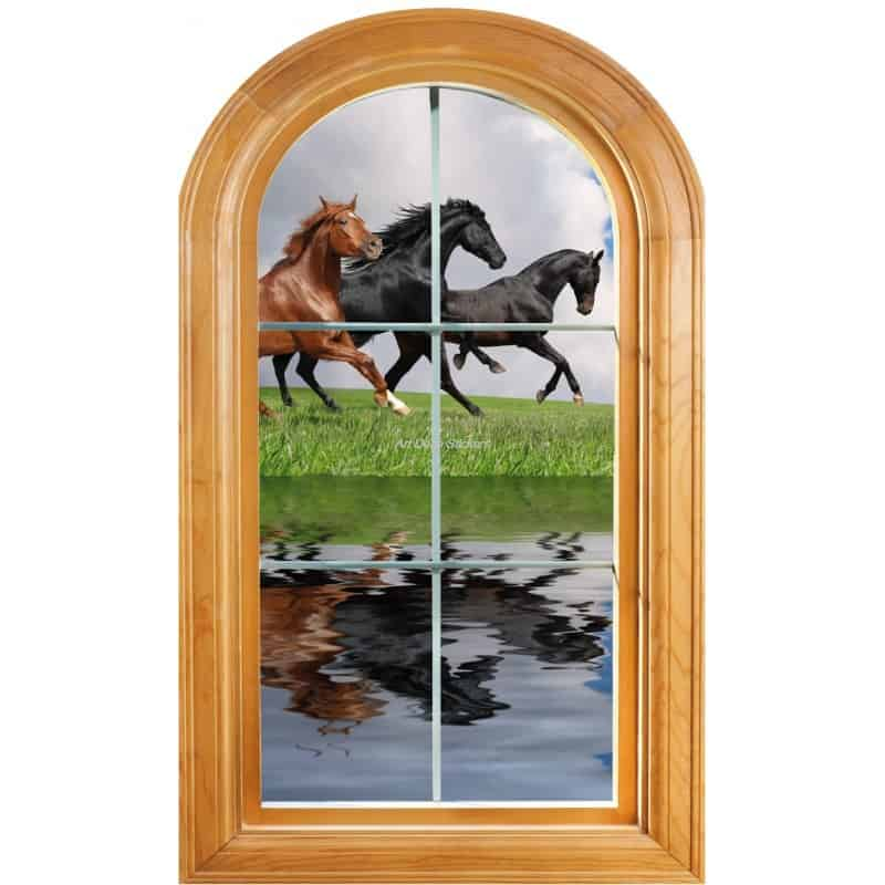 sticker fen tre trompe l 39 oeil d co chevaux art d co stickers. Black Bedroom Furniture Sets. Home Design Ideas