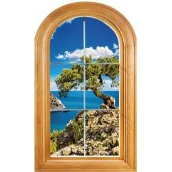 Sticker Fenêtre trompe l'oeil déco Belle vue sur mer