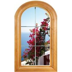 Sticker Fenêtre trompe l'oeil déco Fleurs vue sur mer