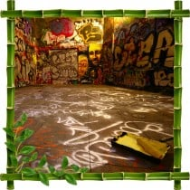 Sticker mural trompe l'oeil déco bambous Tag Graphitti