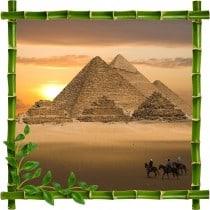 Sticker mural trompe l'oeil déco bambous Pyramides