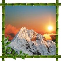 Sticker mural trompe l'oeil déco bambous Montagne