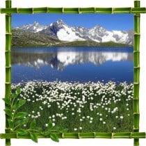 Sticker mural trompe l'oeil déco bambous Montagne Lac