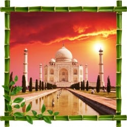 Sticker mural trompe l'oeil déco bambous Taj Mahal