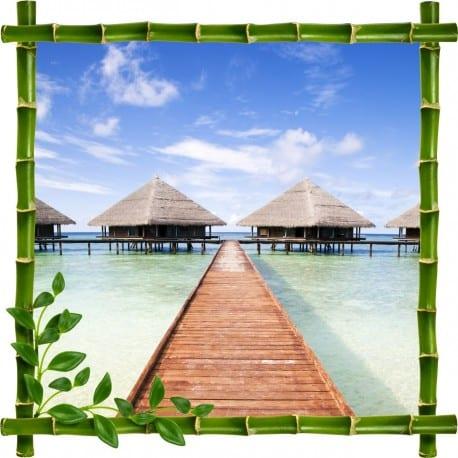 stickers muraux trompe l 39 oeil les maldives stickers d co. Black Bedroom Furniture Sets. Home Design Ideas