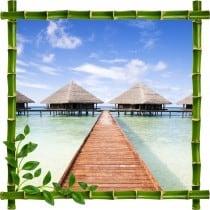 Sticker mural trompe l'oeil déco bambous Les Maldives