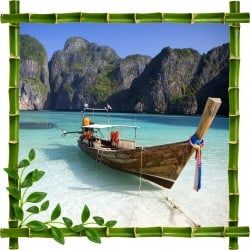 Sticker mural trompe l'oeil déco bambous Barque