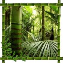Sticker mural trompe l'oeil déco bambous Forêt