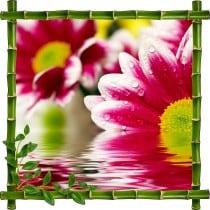 Sticker mural trompe l'oeil déco bambous Fleur