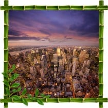 Sticker mural trompe l'oeil déco bambous New York