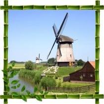 Sticker mural trompe l'oeil déco bambous Moulins a vent
