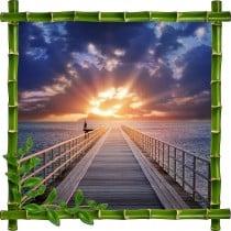 Sticker mural trompe l'oeil déco bambous Couché de soleil