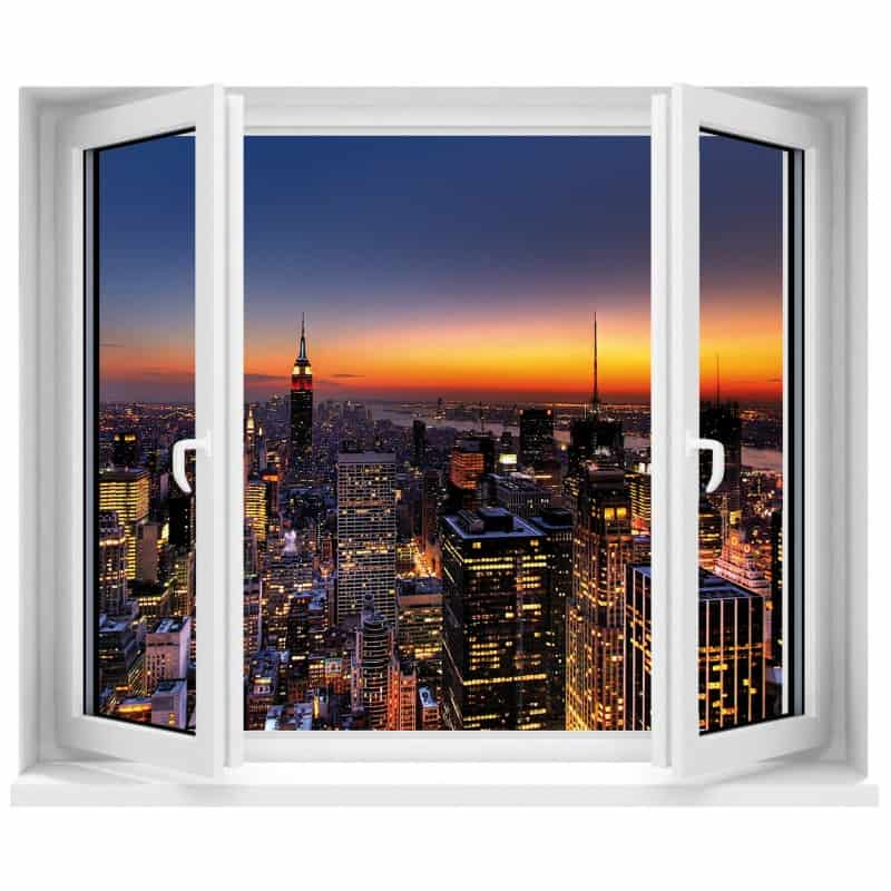 stickers fen tre trompe l 39 oeil new york art d co stickers. Black Bedroom Furniture Sets. Home Design Ideas