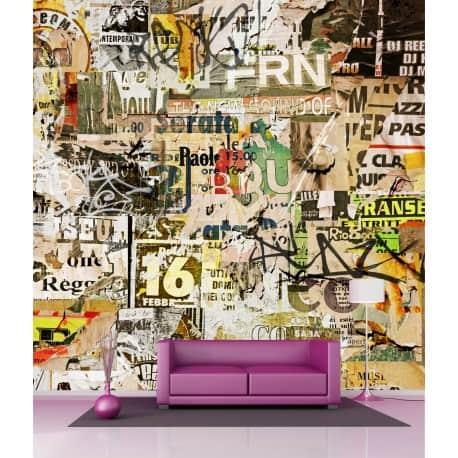 Sticker mural géant papier Graphiti H 2,6 x L 2,6 mètre